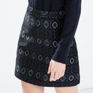 Zara Jacquard Mini Skirt